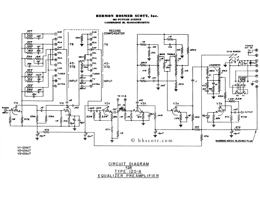 Cascade Tube Preamp Schematic Electrical Wiring Diagram House Pre Tone Control Circuit Hhscott Vacuum Tubes Preamplifier Type 120a Rh Com With Controls